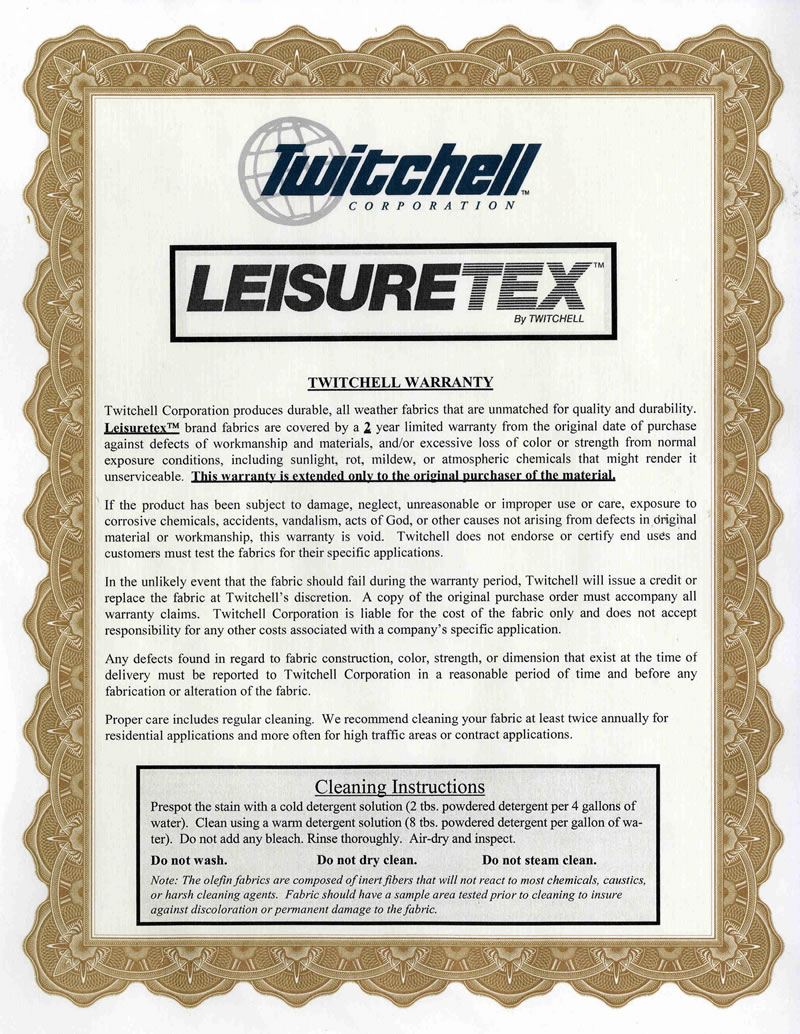 Leisuretex Warranty